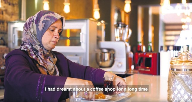 A screenshot from one of the videos shows a refugee speaking about her experience in Turkey where she now runs a coffee shop.