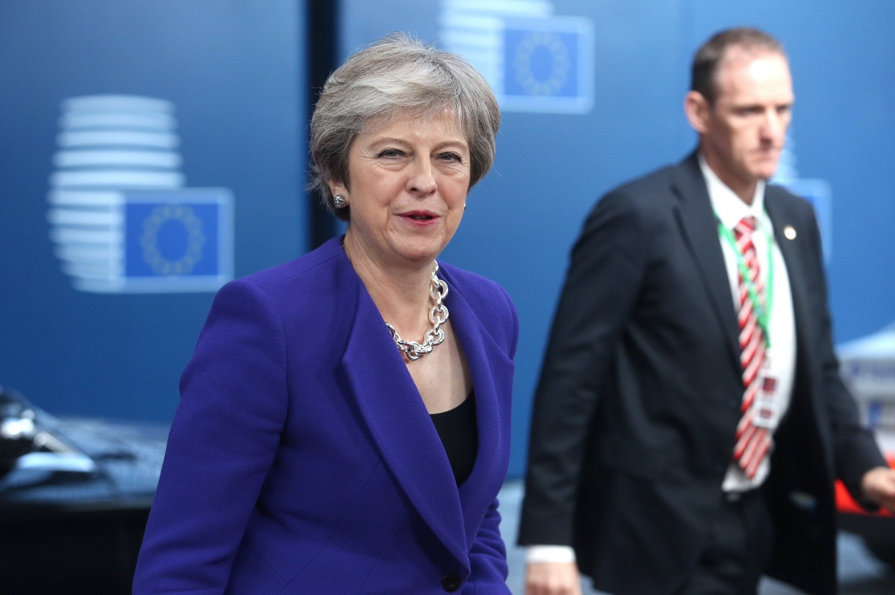British Prime Minister Theresa May arrives at the European Council summit, Brussels, Oct. 18.