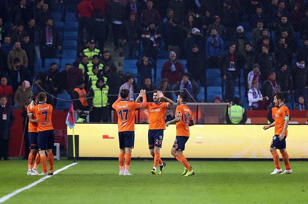Medipol Bau015faku015fehir cheer after one of their goals against Trabzonspor,  Jan. 20, 2019.