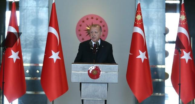 President Recep Tayyip Erdoğan addresses ambassadors in Ankara, Aug. 6, 2019.
