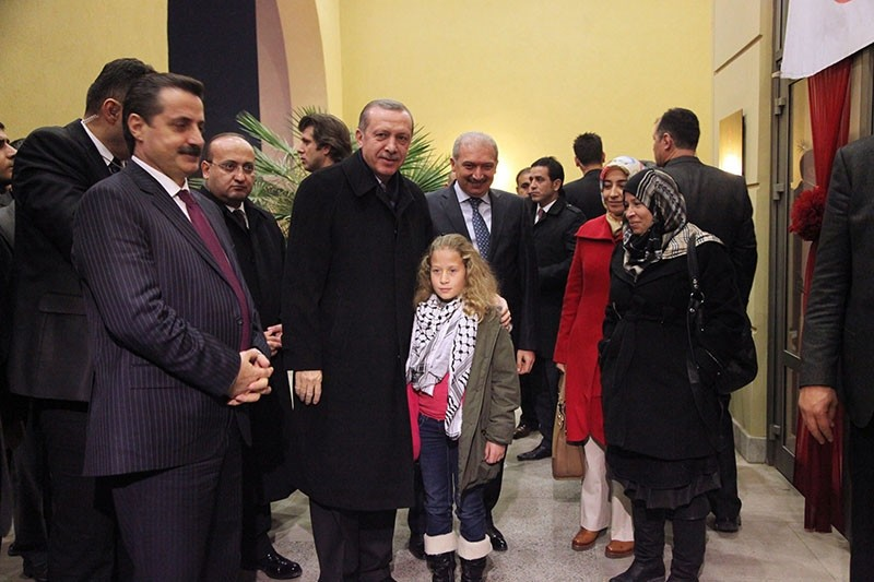 This file photo dated Dec. 31, 2012 shows then Prime Minister Recep Tayyip Erdou011fan and Palestinian girl Ahed al-Tamimi in u015eanlu0131urfa, southeastern Turkey. (IHA Photo)