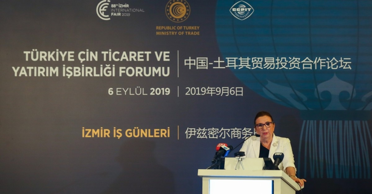 Trade Minister Ruhsar Pekcan delivers an address at the Turkey-China Business Forum held as part of the 88th u0130zmir International Fair, Sept. 6, 2019.