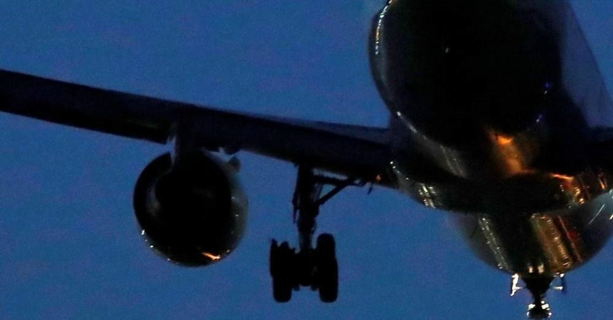 A view of the burst tire of a Boeing 767 aircraft flown by Air Canada, as it makes an emergency landing at Madrid's Barajas Airport, Spain, Feb. 3, 2020. (Reuters Photo)