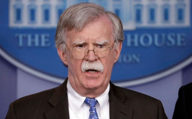 National security adviser John Bolton speaks during a press briefing at the White House, Monday, Jan. 28, 2019, in Washington. AP Photo