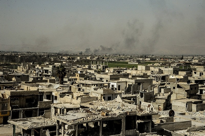 A handout photo made available on 05 March 2018 by Syrian Arab news agency SANA shows the damaged buildings in Al-Nashabieh town in eastern Ghouta Damascus countryside Syria. (EPA Photo)