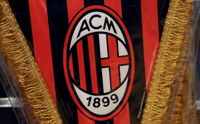 The AC Milan logo is pictured on a pennant in a soccer store in downtown Milan, Italy, April 29, 2015. (Reuters Photo)