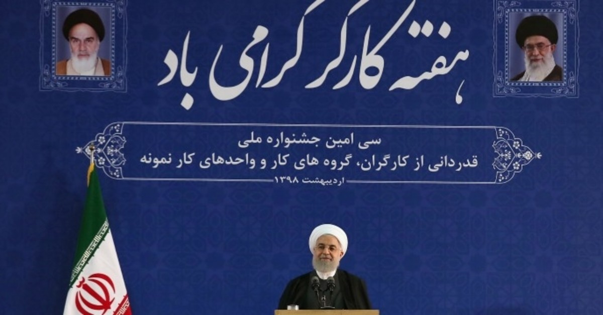 Iran's Rouhani speaks during a ceremony marking national Workersu2019 Week in Tehran (Iranian Presidency Handout via Reuters)