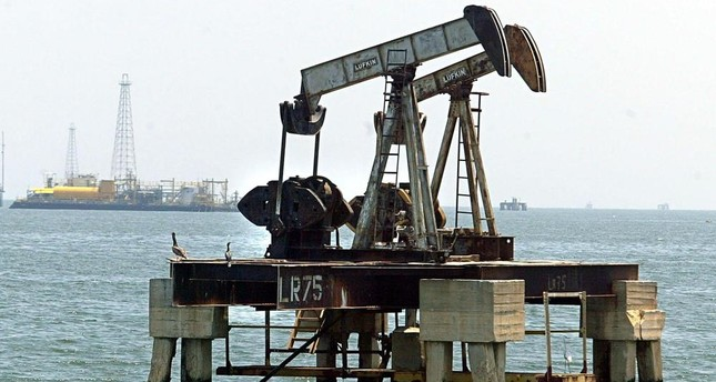 An oil rig at sea near Maracaibo, 500 kilometers, from Caracas. Venezuela's oil industry has suffered from the country's political unrest and sinking economy.
