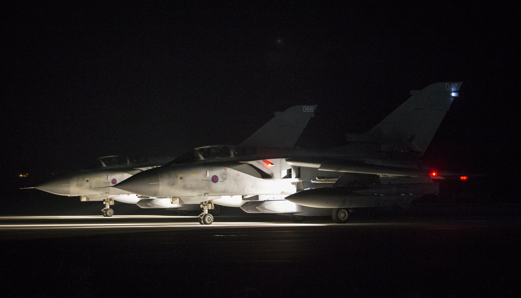 A handout photo by the British Ministry of Defence (MoD) showing two British Royal Air Force (RAF) Tornado taxing before take off at RAF Akrotiri, Cyprus, 14 April 2018 after conducting strikes in support of Operations over the Middle East.