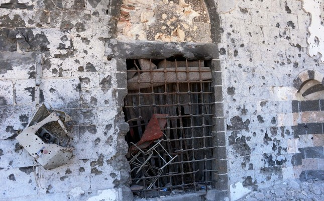 This photo shows damaged walls and a broken window of the historical Kurşunlu Mosque in Sur district of the majority Kurdish southeastern city of Diyarbakır, May 31.