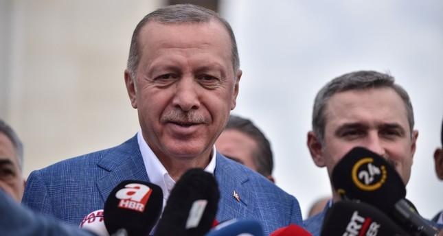 President Recep Tayyip Erdoğan speaking to the reporters at Çamlıca Mosque in Istanbul, Turkey, June 4, 2019. (DHA Photo)
