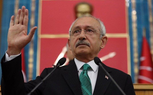 Kemal Kılıçdaroğlu, leader of the CHP, gestures as he delivers a speech during a meeting at the Turkish parliament in Ankara, on April 18.