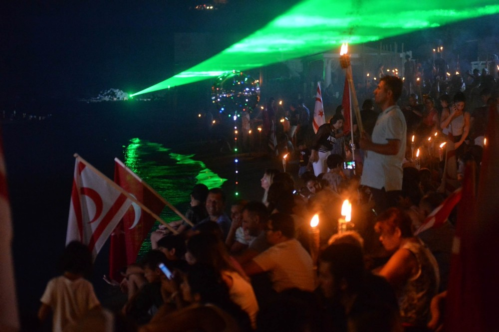 Thousands of Turkish Cypriots gathered at the Five Mile Beach (Yavuz u00c7u0131karma Plaju0131) to commemorate the Turkish operation on the Island in 1974.