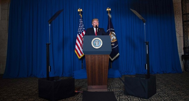 U.S. President Donald Trump delivers a statement on Syria on April 6. Trump ordered a massive military strike against a Syria Thursday in retaliation for a chemical weapons attack they blame on President Bashar Assad. (AFP Photo)