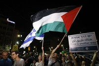 Some 15,000 Israelis rallied in Tel Aviv Saturday evening in support of a two-state solution to the Israeli-Palestinian conflict.