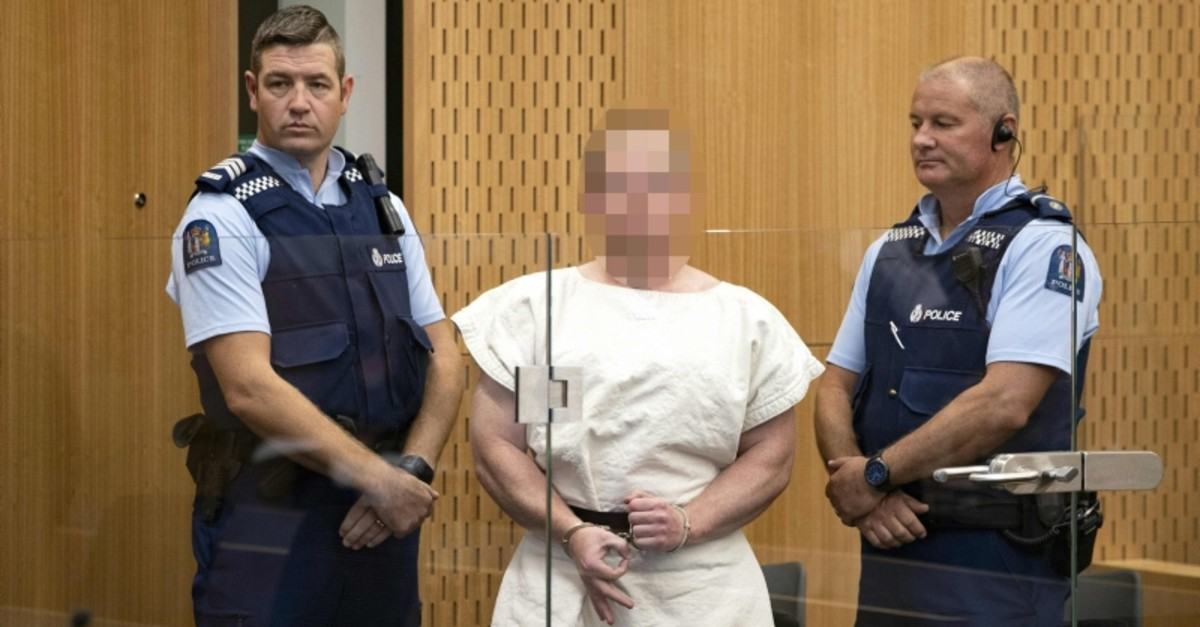 In this file photo taken on March 16, 2019 Brenton Tarrant, the man charged in relation to the Christchurch massacre, makes a sign to the camera during his appearance in the Christchurch District Court. (AFP Photo)