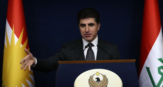Nechirvan Barzani, prime minister of Iraq's Kurdistan Regional Government (KRG), speaks during a press conference in the northern Iraqi city of Arbil, on November 6, 2017. (AFP PHOTO)