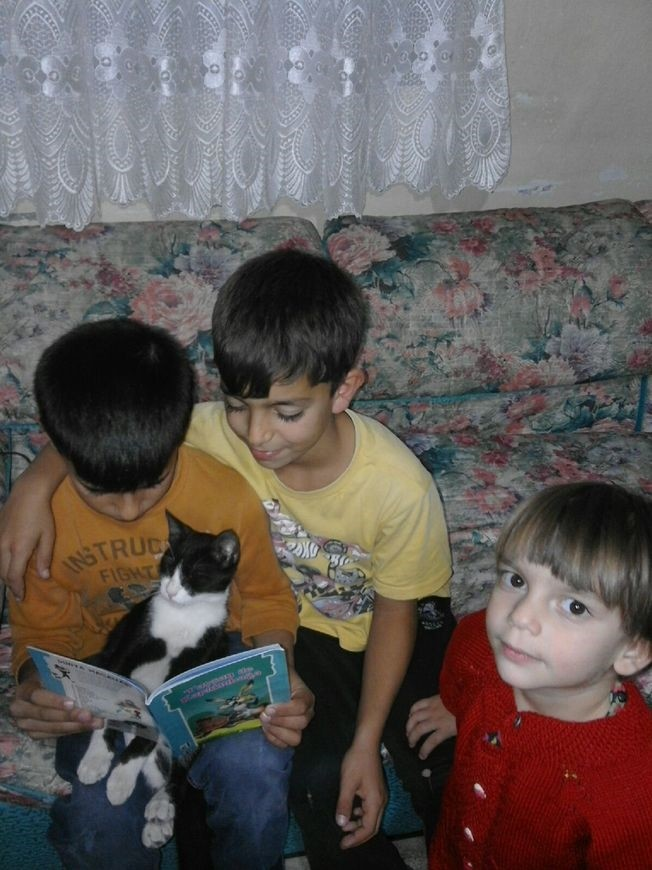 Ahmed Ibrahim, a 9-year-old Syrian living in Turkey, won an international reading award for a photo of him reading with his cat. (Photo from Ibrahim Gu00f6k via Padlet)