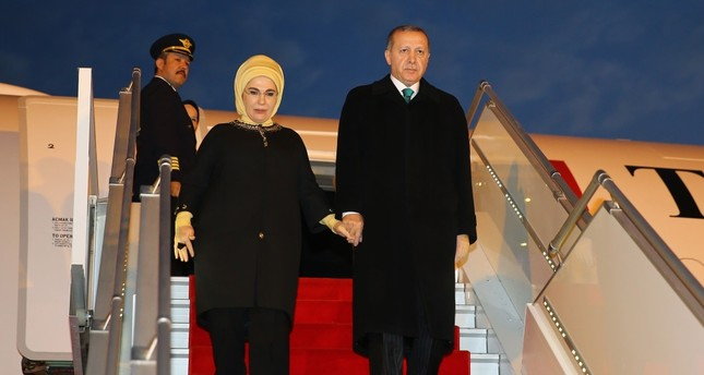President Erdoğan arriving with first lady, Emine Erdoğan, Algiers, Feb. 26, 2018.