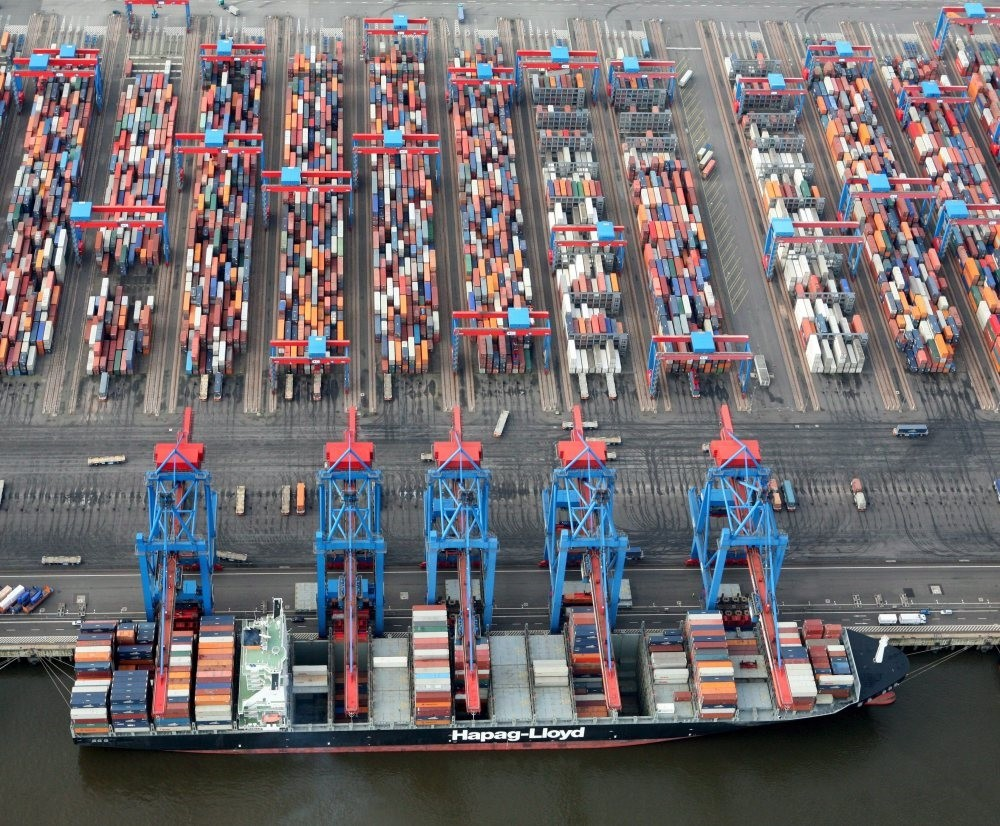 A container ship in a seaport in Hamburg, Germany. As the EU experienced 2.5 pct growth in 2017, the highest in a decade, rising economic momentum is expected to result in an increase in the blocu2019s demand for Turkish goods and services in the future.