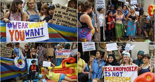 Combination of photos show burkini ban protesters holding a beach party at the French embassy in London on Aug 25, 2016.