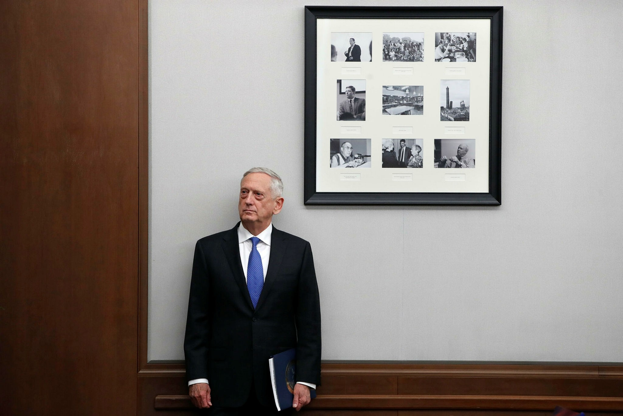 U.S. Defense Secretary James Mattis listens to his introduction before speaking about the National Defense Review, Friday, Jan. 19, 2018, in Washington. (AP Photo)