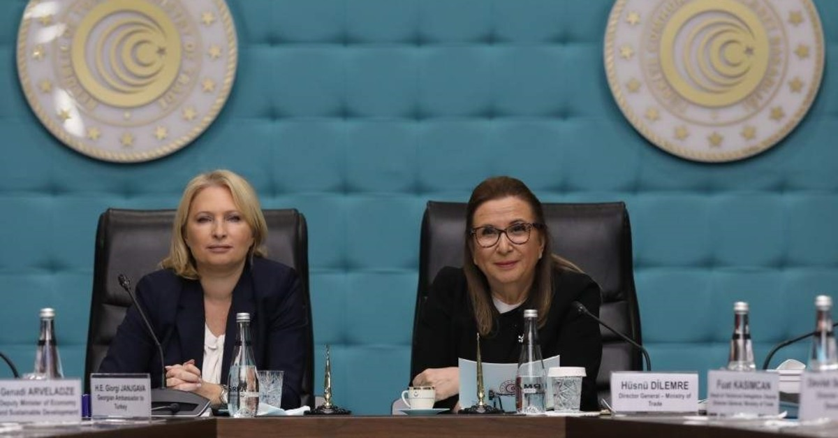 Trade Minister Ruhsar Pekcan (R) and Georgia's Minister of Economy and Sustainable Development Natia Turnava attend the closing meeting and protocol signing ceremony of the Turkey-Georgia Joint Economic Commission (JEC), Ankara, Nov. 19, 2019. (AA Photo)