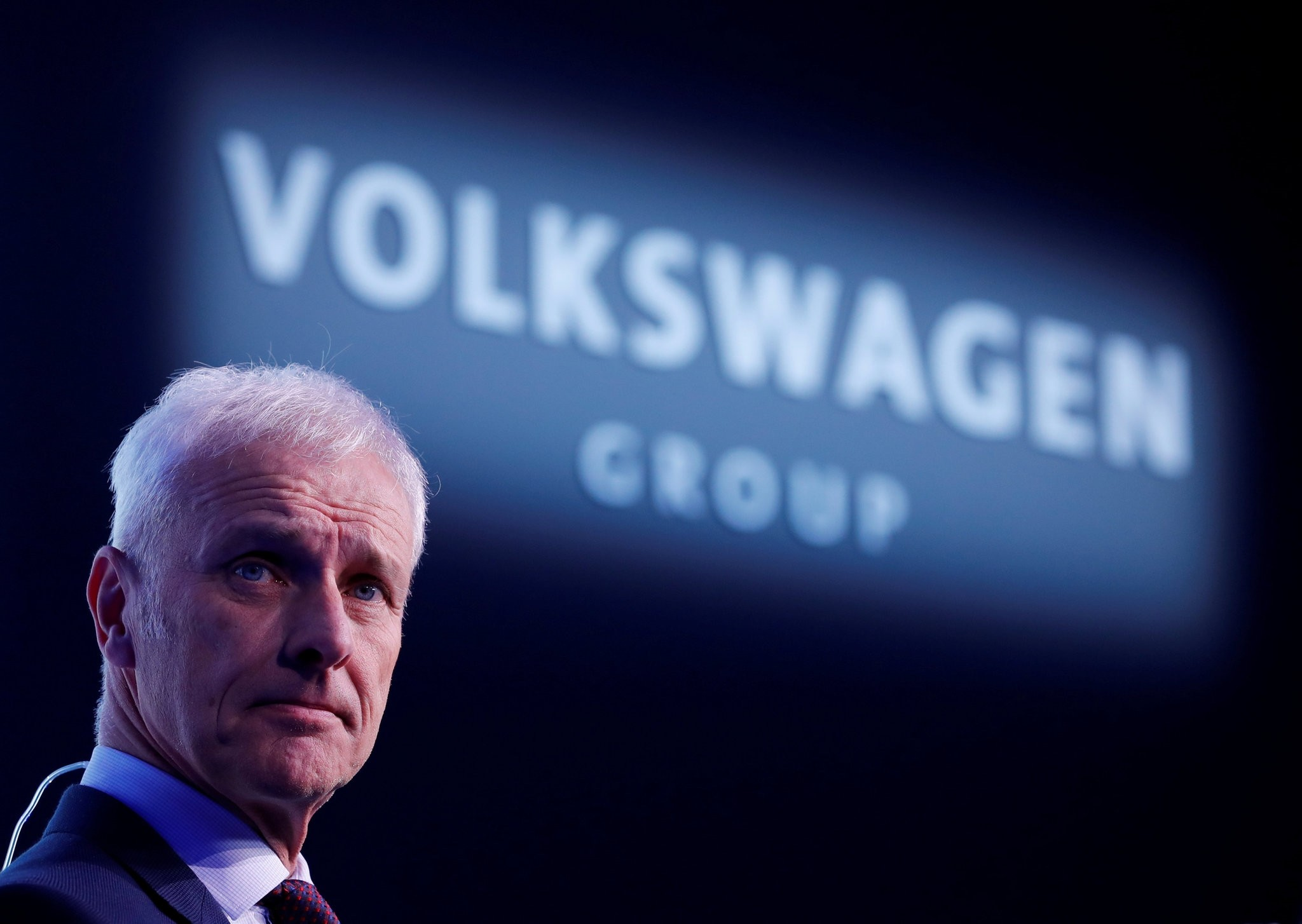 Volkswagen CEO Matthias Mueller poses for a photograph after an interview with Reuters ahead of the 88th International Motor Show at Palexpo in Geneva, Switzerland, March 5, 2018. (REUTERS Photo)