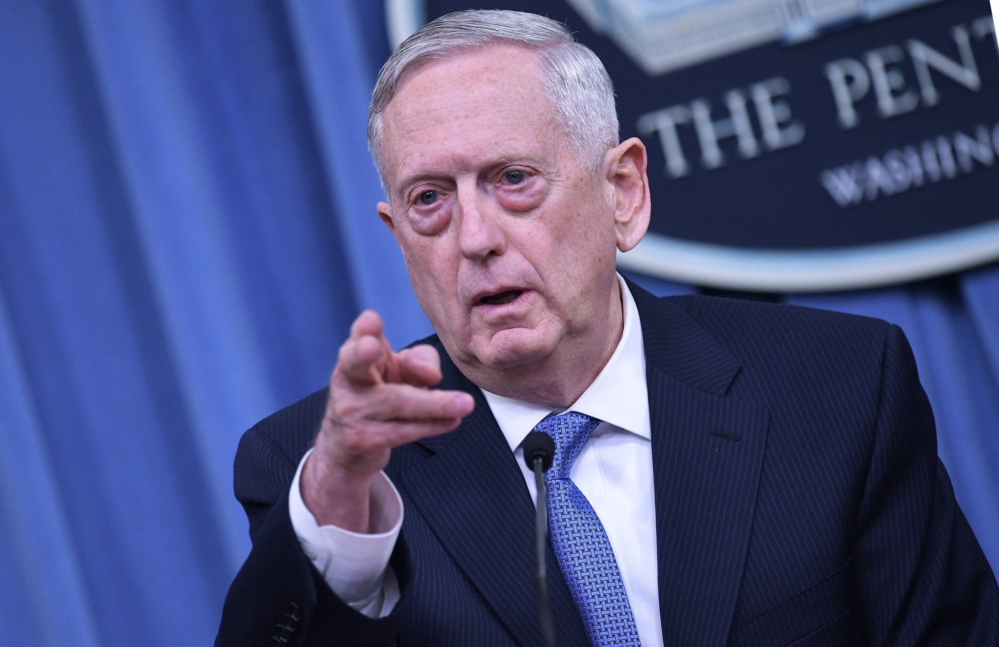 US Secretary of Defense Mattis takes questions during a briefing at the Pentagon in Washington, DC on April 11, 2017. (AFP Photo)