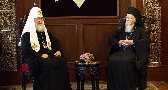 On Friday, Aug. 31, 2018, Ecumenical Patriarch Bartholomew I, right, the spiritual leader of the world's Orthodox Christians, sits with Patriarch Kirill of Moscow, left, during their meeting at the Patriarchate in Istanbul. (AP Photo)