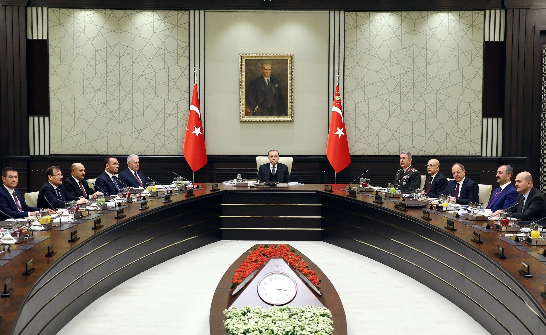President Recep Tayyip Erdou011fan heads the National Security Council meeting, Jan. 17.