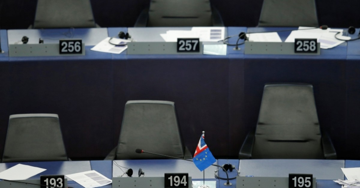 A flag with colors of the British Union Jack flag and the European Union flag is seen after a debate on Brexit at the European Parliament in Strasbourg, France, Sept. 18, 2019 (Reuters Photo)