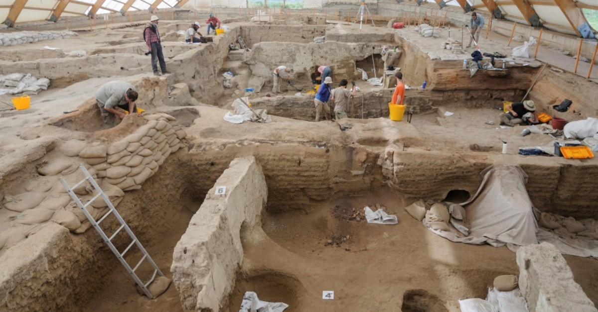 Researchers excavate the ruins of u00c7atalhu00f6yu00fck, located in present-day Konya, in this photo released on June 17, 2019.