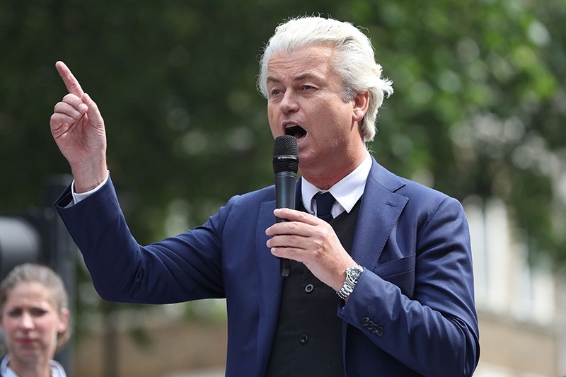 This file photo taken on June 9, 2018, shows Dutch far-right PVV party leader Geert Wilders in central London. (AFP Photo)