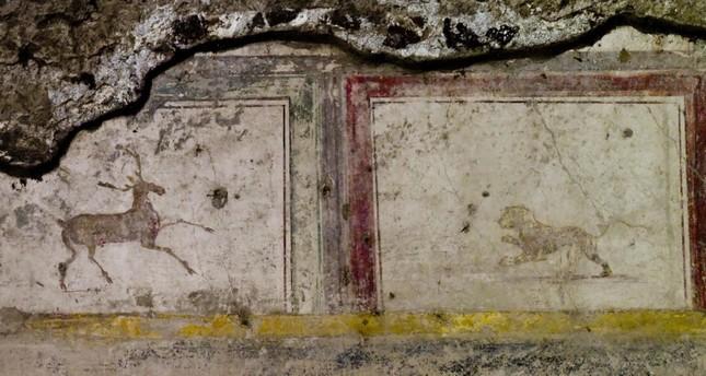 Part of fresco at domus delle Nozze d' Argento in Pompeii, Italy, 17 May 2018. (EPA Photo)