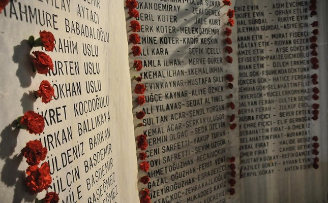 Names of the victims of Aug 17 earthquake are engraved on earthquake memorial in Yalova province. (DHA Photo)