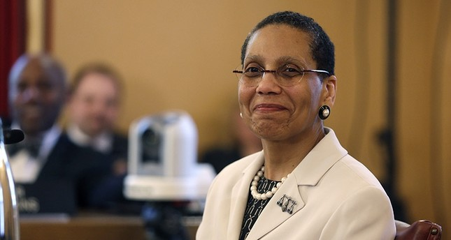 In this April 30, 2013 file photo, Justice Sheila Abdus-Salaam looks on as members of the state Senate Judiciary Committee vote unanimously to advance her nomination to fill a vacancy on the Court of Appeals at the Capitol in Albany, N.Y. AP Photo