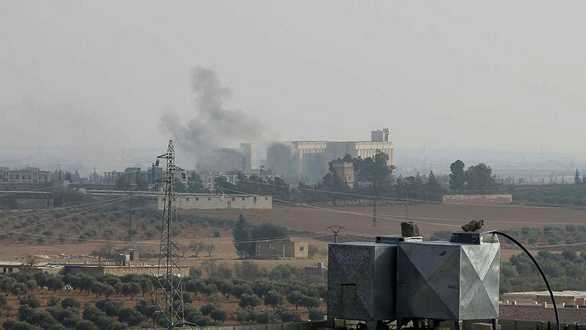 Smoke billows from Daesh targets hit by Turkish warplanes in Al-Bab