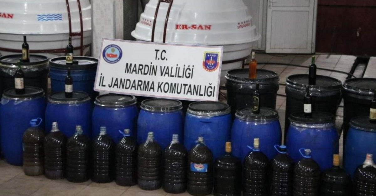 Security forces seized over 117 tons of bootleg liquor in an operation in southeastern Turkey's Mardin province. (DHA Photo)