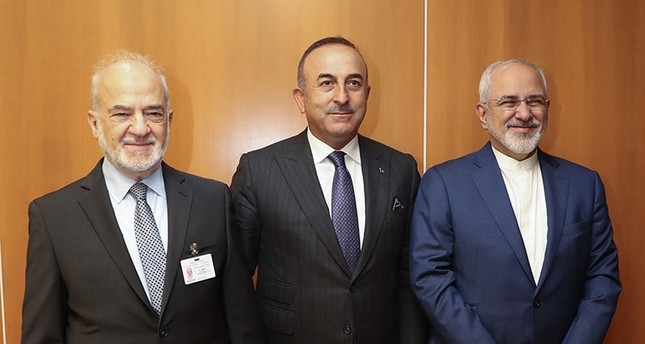 Foreign Minister Mevlüt Çavuşoğlu (Center) with Iraqi and Iranian counterparts in New York (AA Photo)