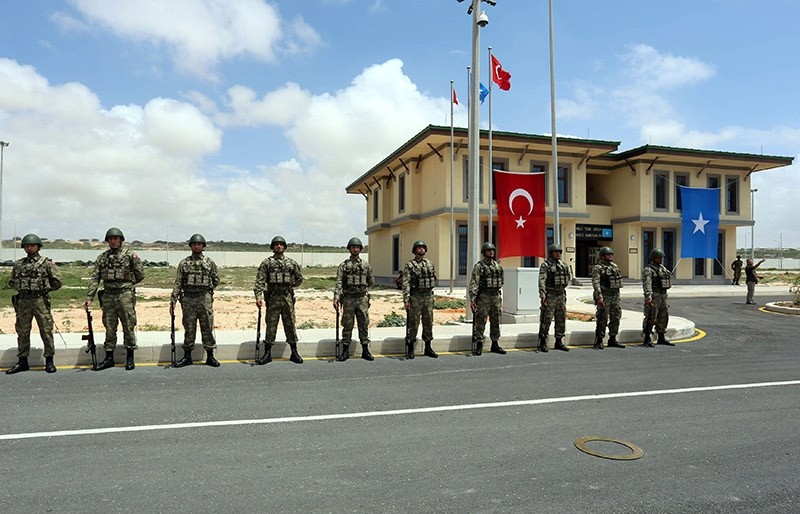 Turkish military officers parade during the opening ceremony of a Turkish military base in Mogadishu, Somalia September 30, 2017. (Reuters Photo)