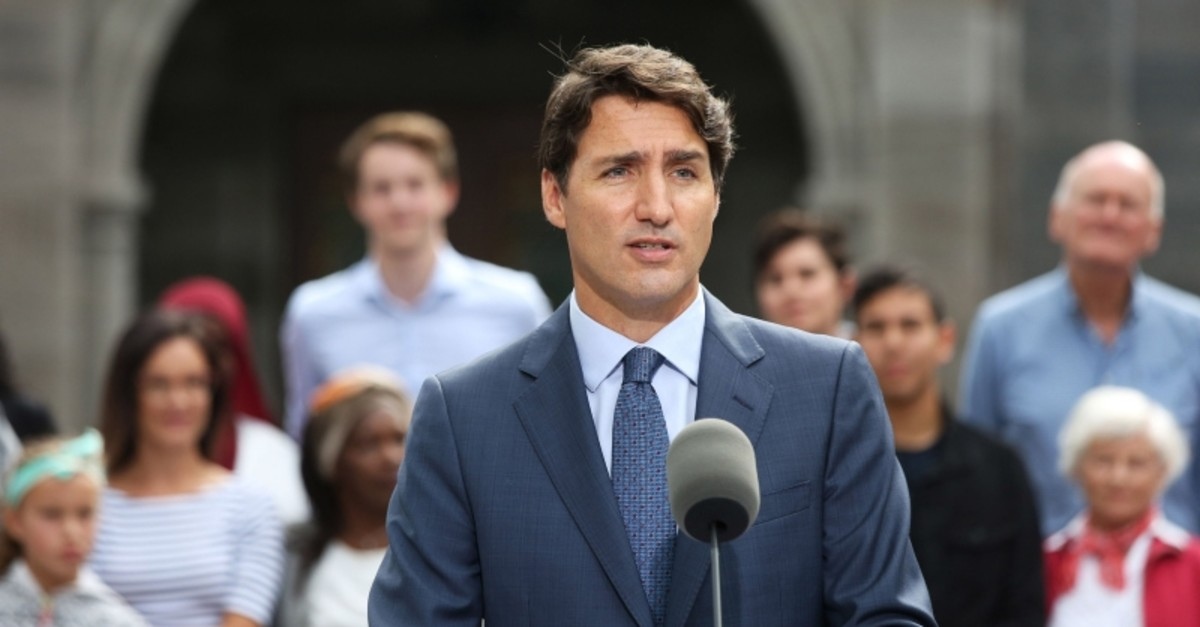 Liberal Party leader and Canada's Prime Minister Justin Trudeau speaks during a news conference at Rideau Hall in Ottawa on September 11, 2019. (AFP Photo)