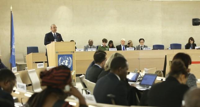 Foreign Minister Mevlüt Çavuşoğlu speaks at the U.N. Human Rights Council meeting in Geneva, Feb. 25, 2019 (AA Photo)
