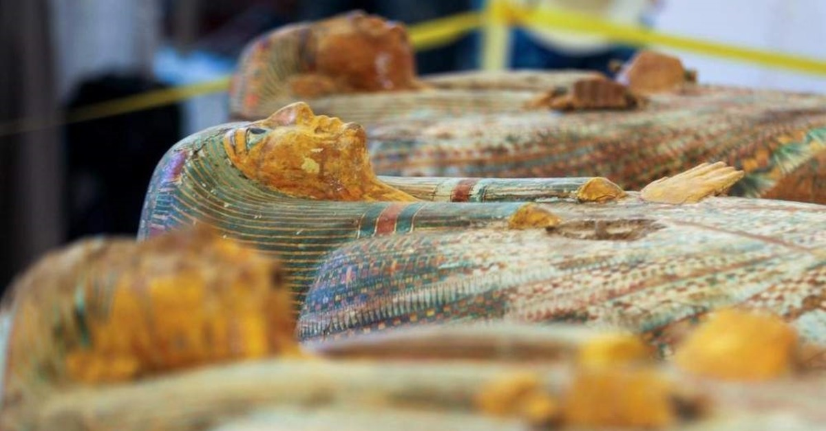 Several painted ancient coffins are seen at Al-Asasif necropolis in the Valley of the Kings in Luxor. (Reuters Photo)