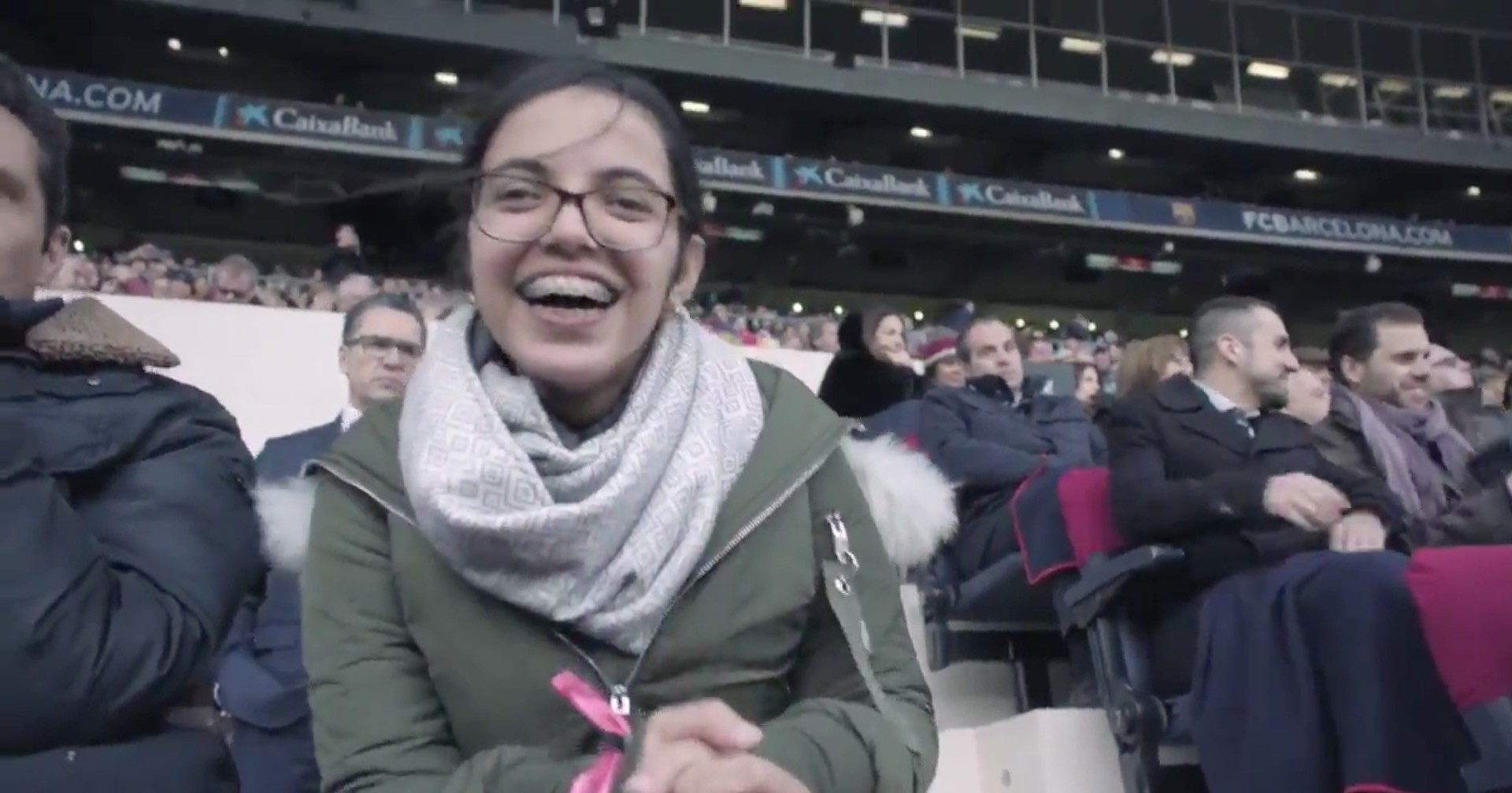 This screengrab from Barcelona's video shows Nujeen Mustafa in Camp Nou stadium
