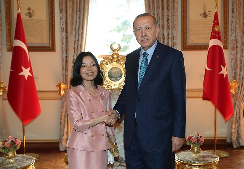 President Recep Tayyu0131p Erdou011fan hosts Japanese Princess Akiko Mikasa at Yu0131ldu0131z Palace's Mabeyn Villa in Istanbul. (AA Photo)