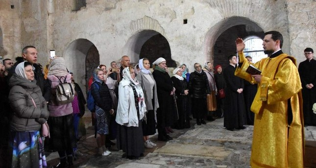 Members of the Orthodox community in Turkey attend a religious service at a historic church that now functions as a museum, Antalya, Dec. 19, 2019. DHA Photo