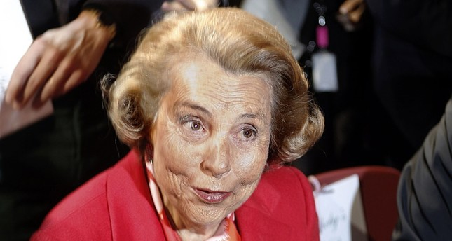 This file photo taken on January 26, 2011 shows French Billionaire L'Oreal heiress Liliane Bettencourt speaking following the Franck Sorbier Spring-Summer 2011 Haute Couture Collection Show in Paris. (AFP Photo)