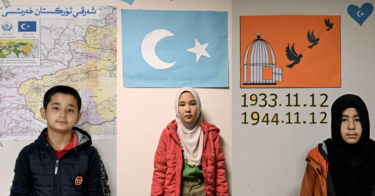 Uighur students Khaled (12), Fatima (9) and Gulfina (12) (Photos by AFP)