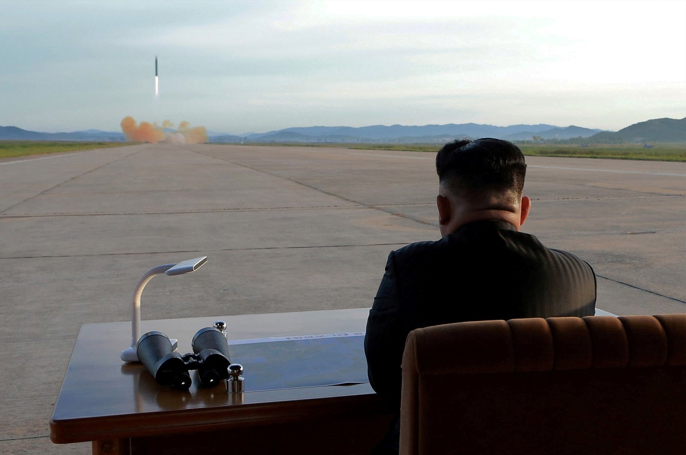 North Korean leader Kim Jong Un watches the launch of a Hwasong-12 missile in this undated photo released by North Korea's Korean Central News Agency on Sept. 16, 2017. (REUTERS Photo)